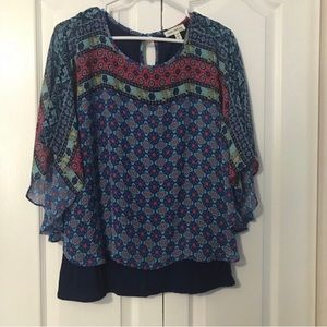 Navy patterned top.